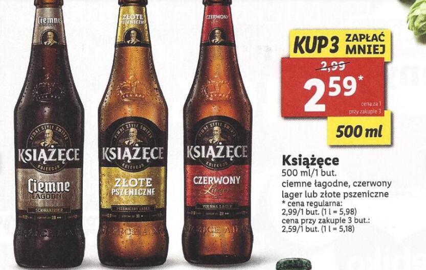 Piwo Książęce 0, 5 l przy zakupie 3 butelek @Lidl