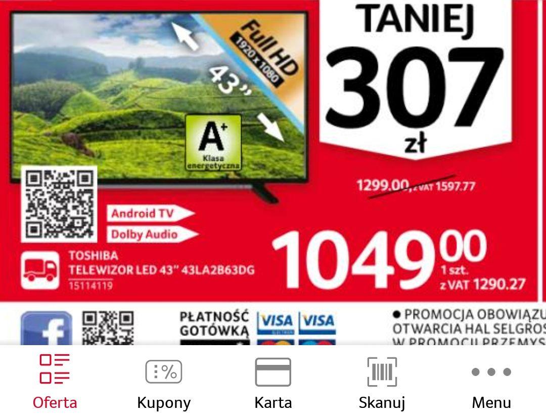 """Telewizor 43"""" Toshiba 43LA2B63DG . Selgros"""