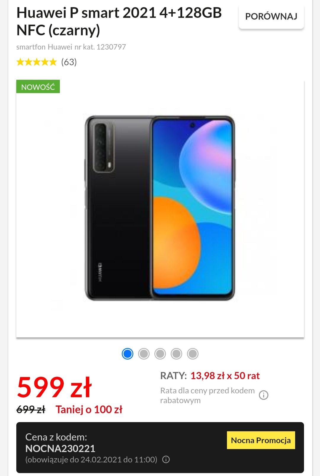 """Smartfon Huawei P smart 2021 4+128GB 6.67"""" 5000mAh NFC (czarny)"""