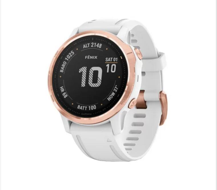 Sportowy zegarek do biegania Garmin Fenix 6S PRO różowe złoto - biały Gorilla Glass