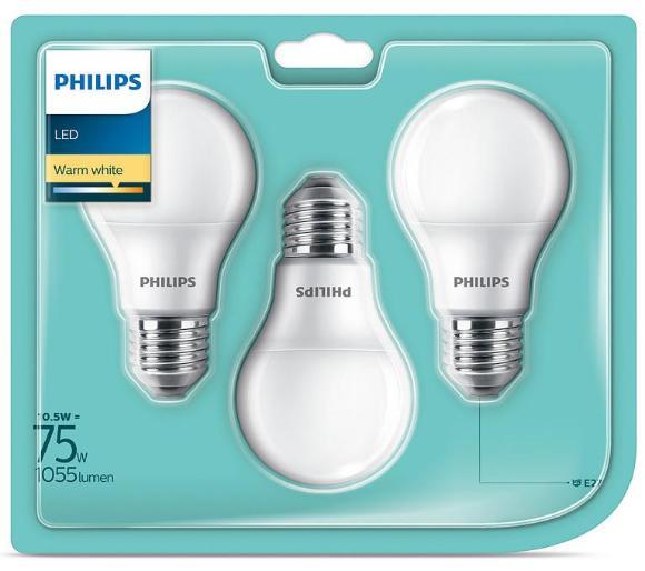 3 żarówki Philips LED 10,5 W (75 W) E27 1055 lm, 2700 K (komplet 3 szt.). Możliwy odbiór bez kosztów wysyłki.