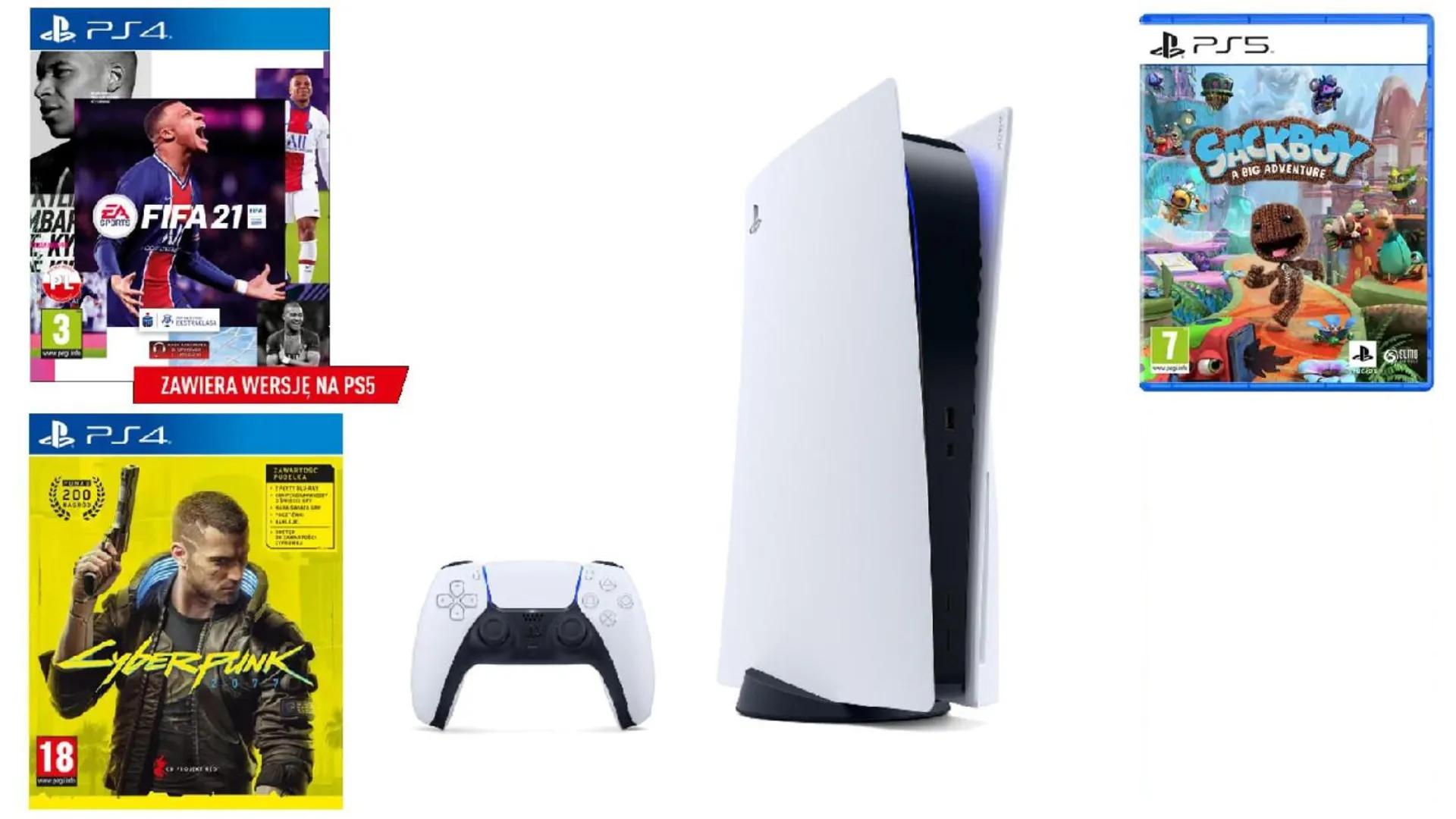 PlayStation 5 + CYBERPUNK 2077 Playstation 4 + FIFA 21 Playstation 4 + Sackboy A Big Adventure! Playstation 5