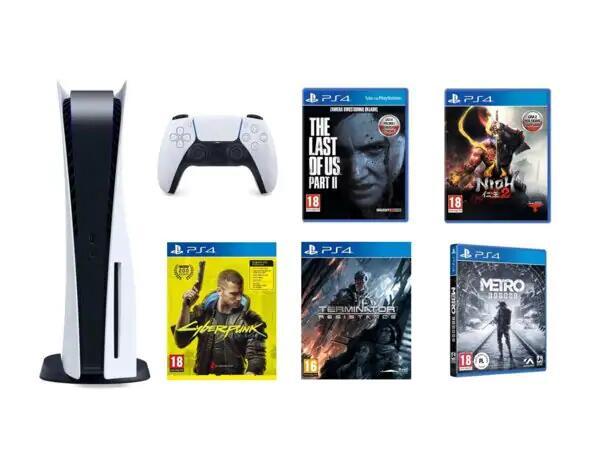 Konsola SONY PlayStation 5 + The Last of Us Part II + NiOh 2 + Cyberpunk 2077 + Terminator: Resistance + Metro Exodus