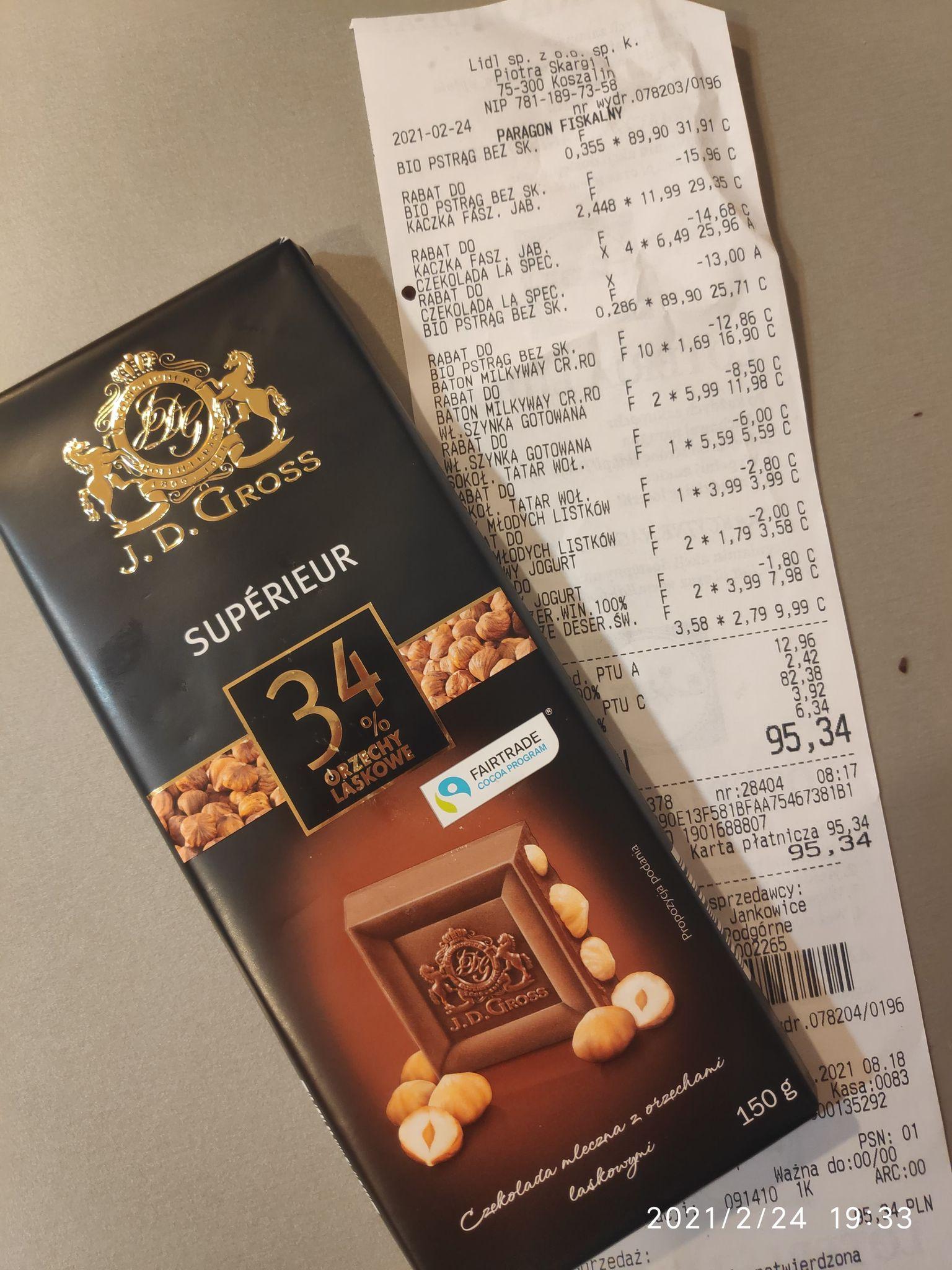 LIDL czekolada z karmelizowanymi orzechami lub migdałami, 150g