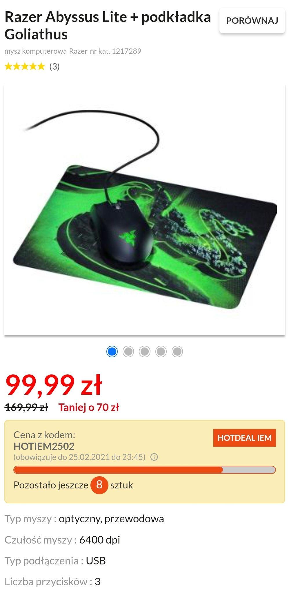 Myszka Razer Abysuss Lite + podkładka w słusznej cenie za 99,99zł