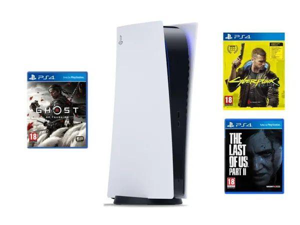 PlayStation 5 + CYBERPUNK 2077 Playstation 4 + The Last of Us Part II Playstation 4 + Ghost of Tsushima Playstation 4