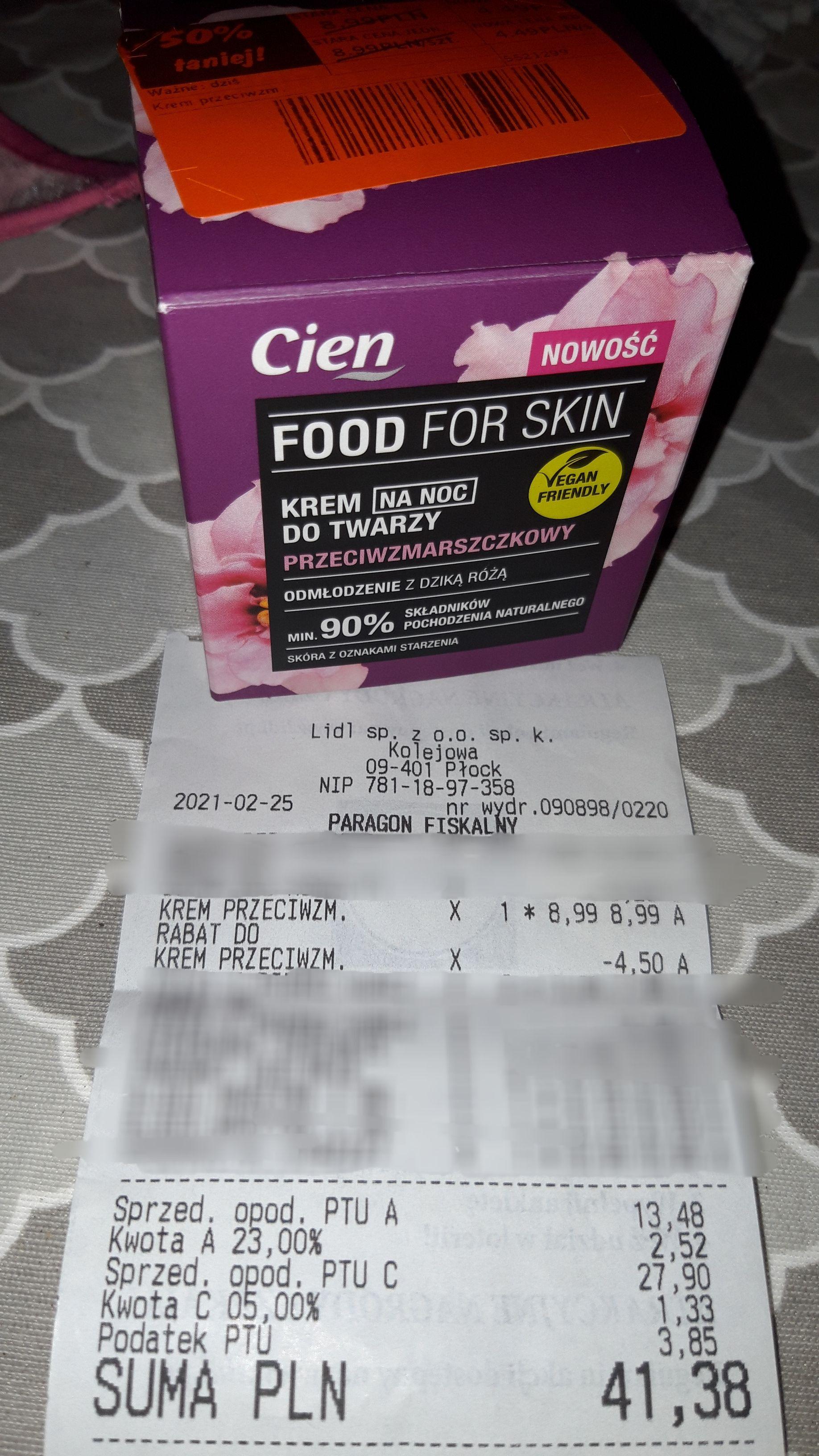 Krem do twarzy, Cień Food For Skin, dwa rodzaje, 50ml, Lidl Płock
