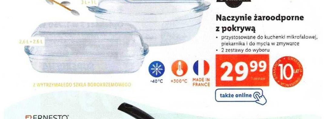 Naczynie żaroodporne z pokrywą z szkła borokrzemowego 2,6 l + 2,6 l, 10 lat gwarancji - Lidl