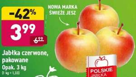Jabłka 3 kg (1,33 zł/kg) @Aldi