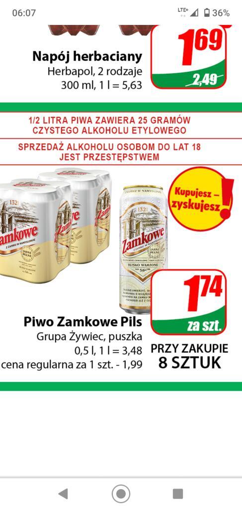 Piwo Zamkowe 1,74 przy zakupie 8 puszek /Dino/
