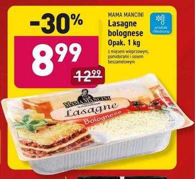 Lasagne bolognese Mama Mancini 8,99zł/kg, boczek wędzony 14,90zł/kg @Aldi