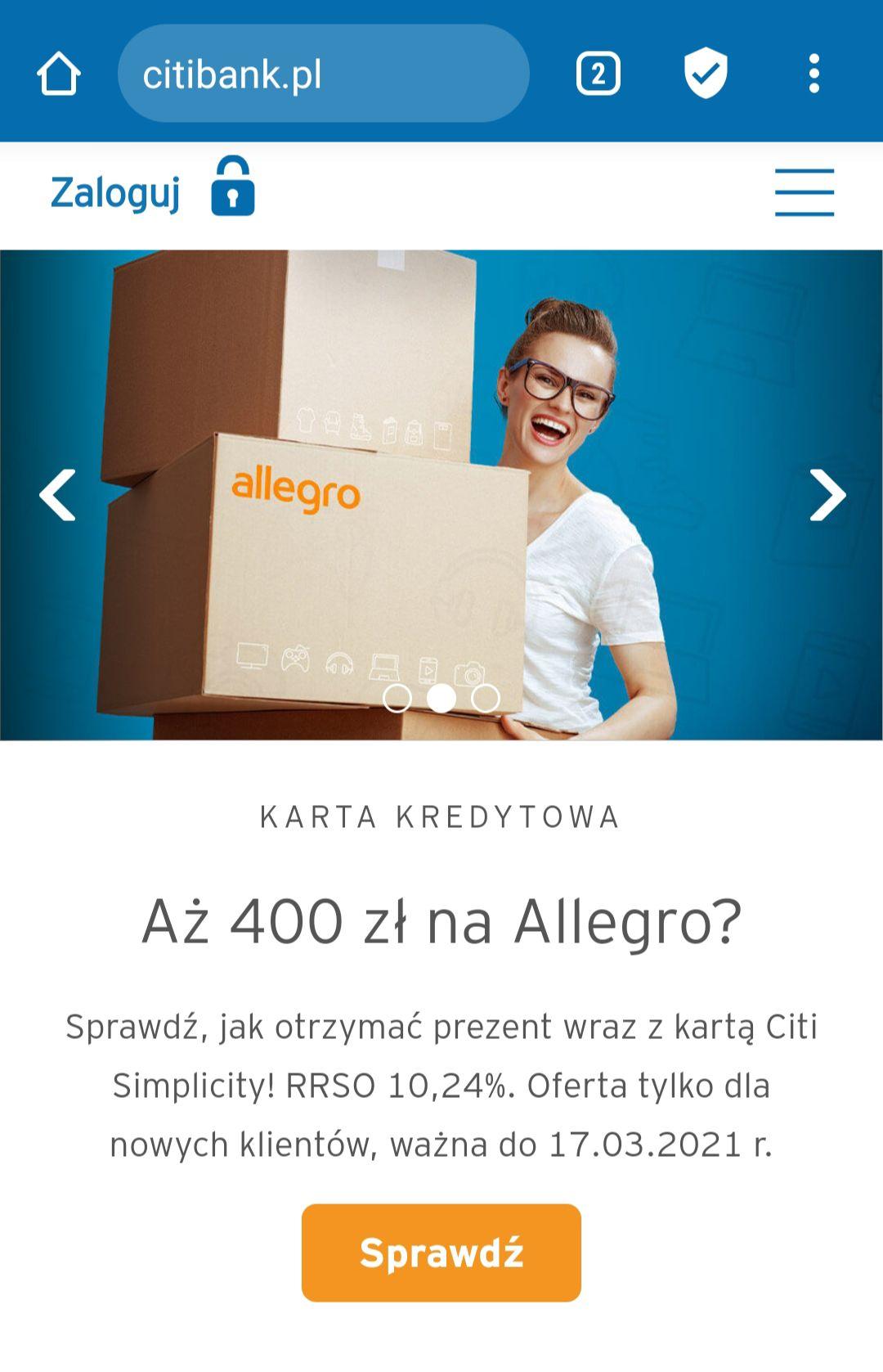 Powraca hit od CitiBank, 400zł na Allegro za założenie karty Simplicity