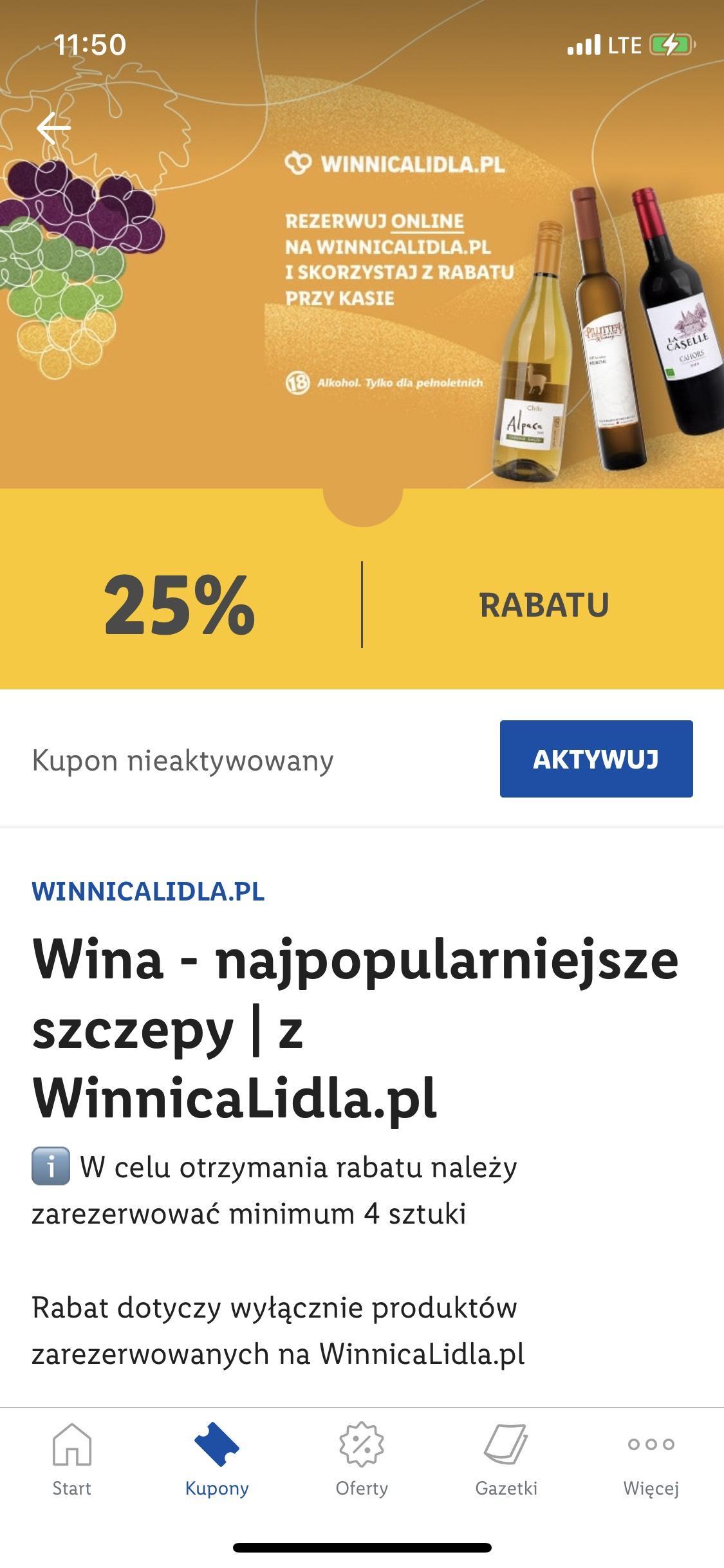 25% zniżki wina rezerwacja Winnica Lidla