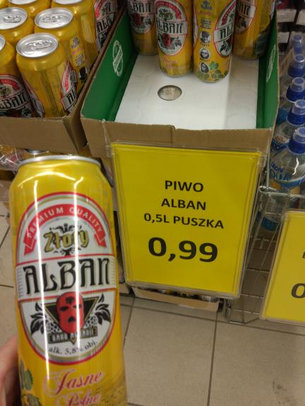 Piwo Gangu Albanii - Alban za 99gr puszka @Lewiatan Kielce