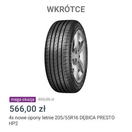 Allegro Mega Okazje 4 opony letnie Dębica Presto HP2 205/55R16