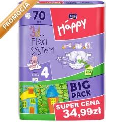 Pieluszki Happy Maxi (4) 8-18 kg - 70 szt. BIG PACK za 36,99zł @ Bliżej Ciebie