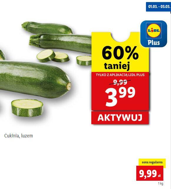 Cukinia, luzem - 3.99 PLN/kg z kartą Lidl Plus