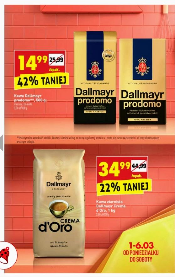 Dallmayr Prodomo, kawa ziarnista lub mielona 500 g za 14,99 zł oraz Dallmayr Crema D'oro ziarnista 1kg za 34,99 zł w Biedronka