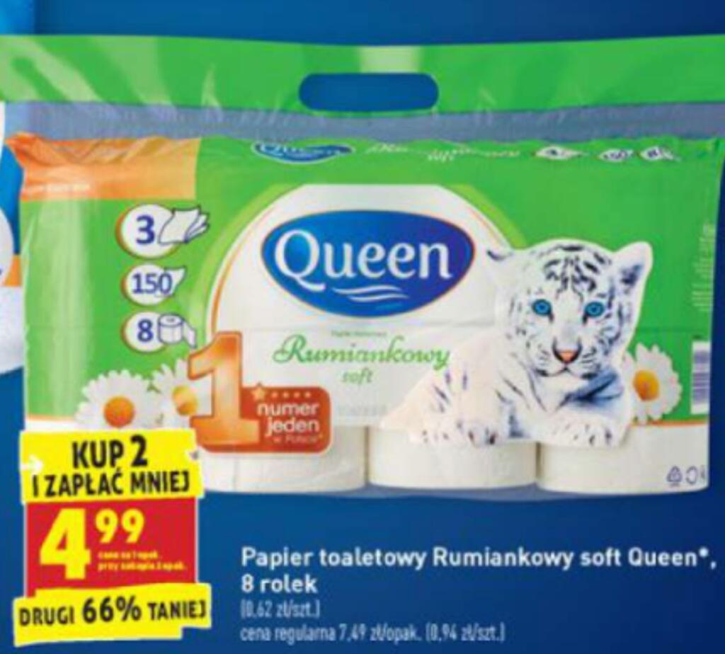 Papier toaletowy rumiankowy Queen, 8 rolek za 4,99 przy zakupie dwóch opakowań. Biedronka.