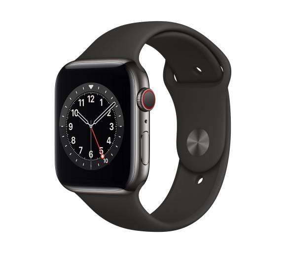 Apple Watch Series 6 GPS + Cellular 40mm (czarny-sport), stalowa koperta