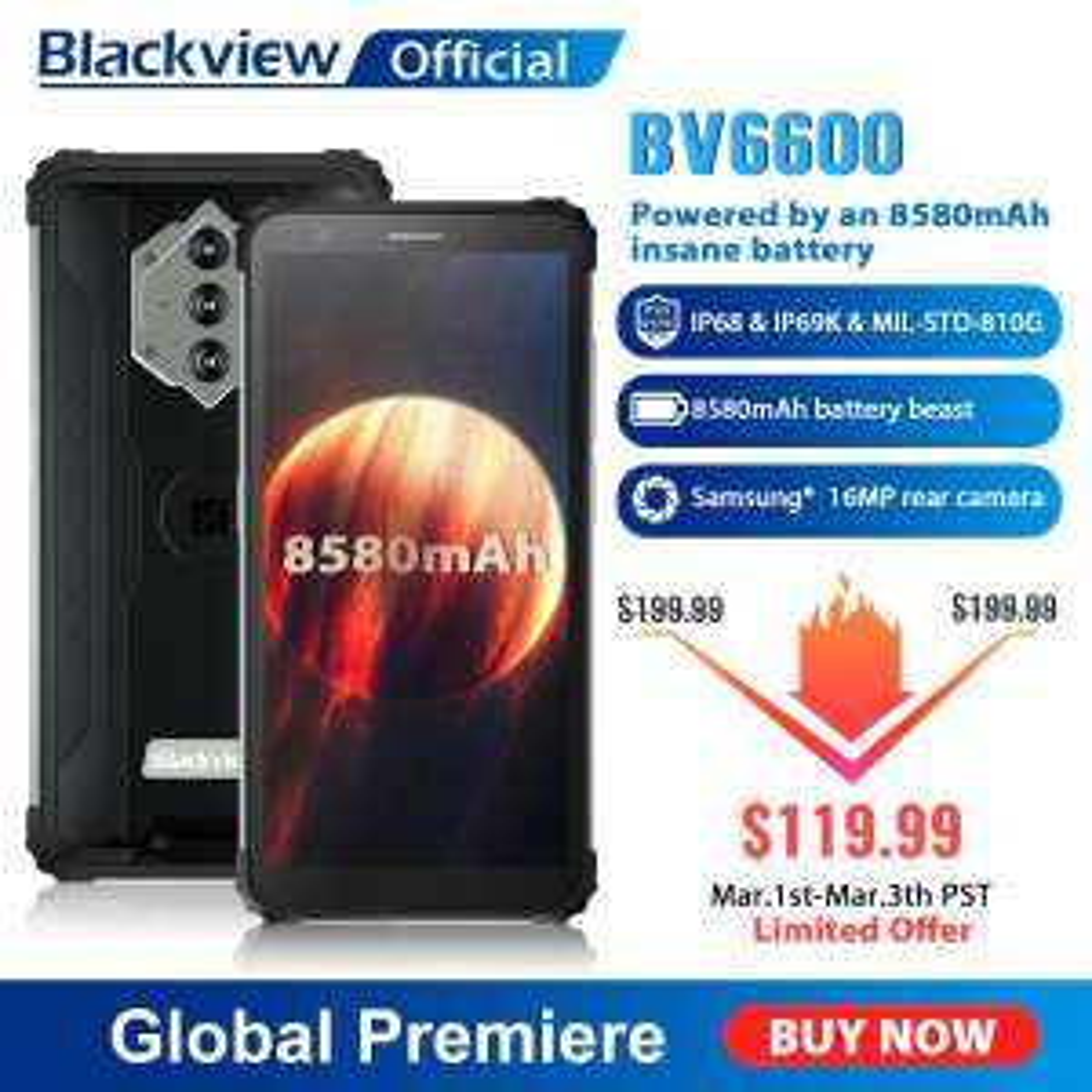 Pancerny Smartphone Blackview BV6600 4/64GB 8580 mAh IP68 IP69 - $119.99