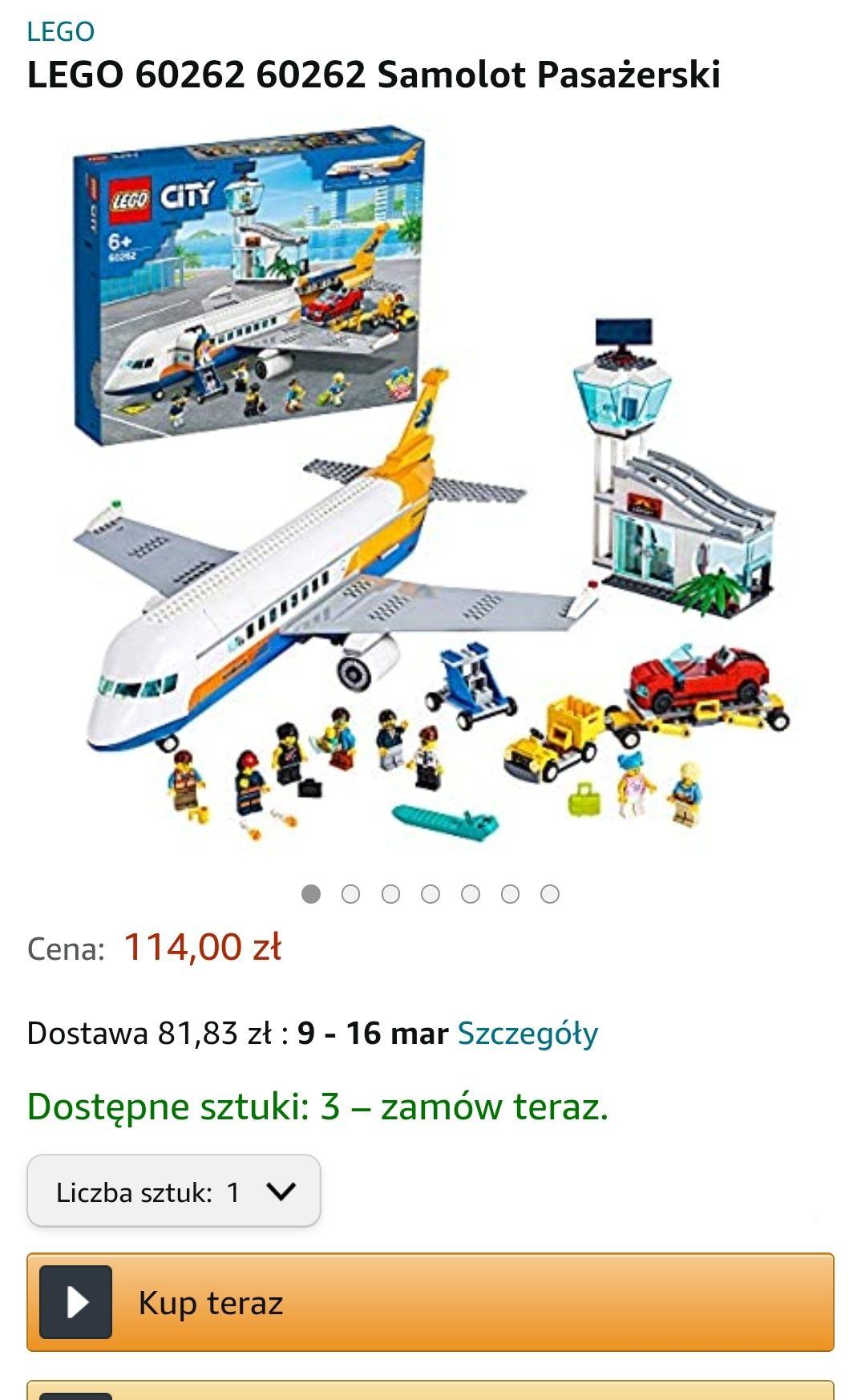 Lego samolot pasażerski 60262