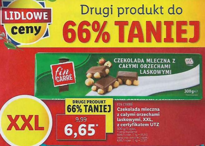 Czekolada mleczna z całymi orzechami laskowymi XXL 300g (2,21 zł za 100g). Lidl