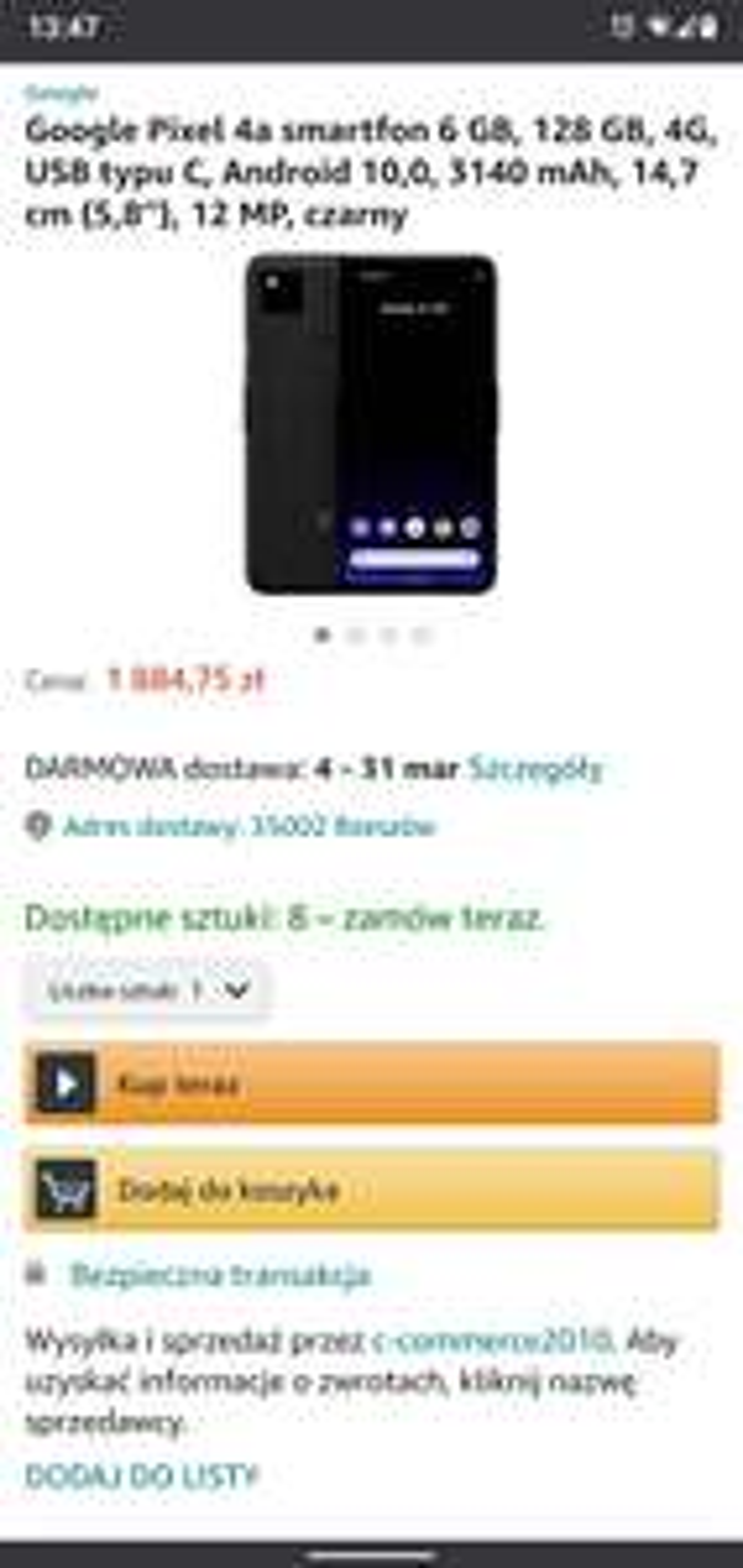 Google Pixel 4a z polskiego Amazonu