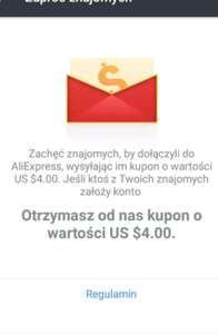 Kupon $4 na Aliexpress