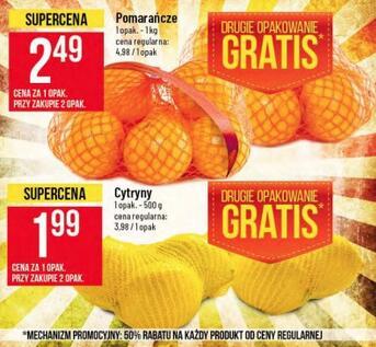 Pomarańcze 2,49zł/kg i cytryny 1,99 zł 500g przy zakupie 2 siatek @Polomarket