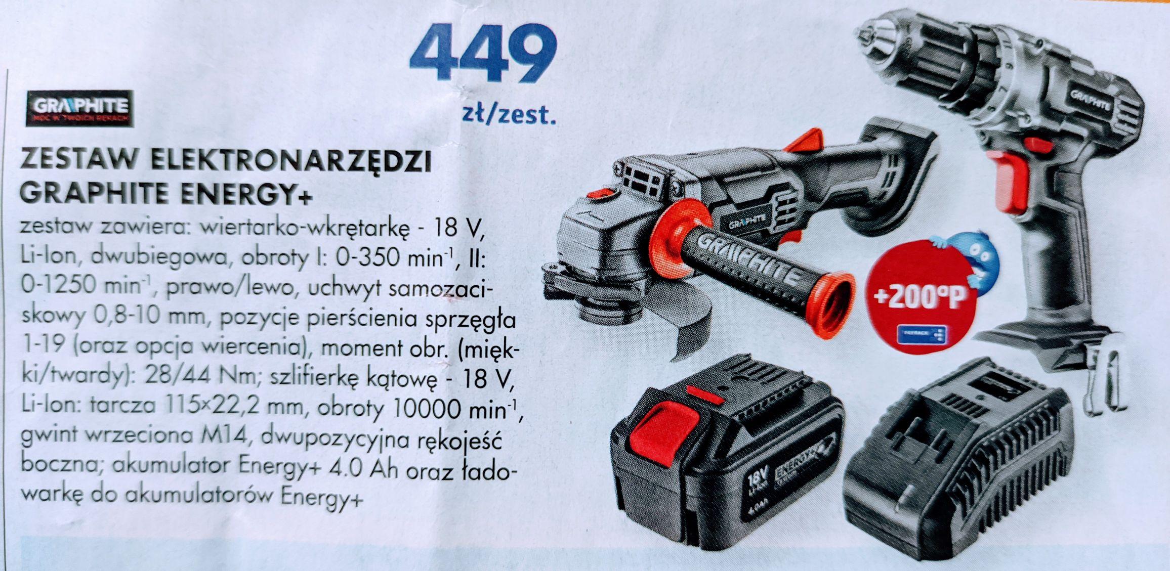 Zestaw Graphite wkrętarka + szlifierka + akumulator 4ah + ładowarka (Mrówka)