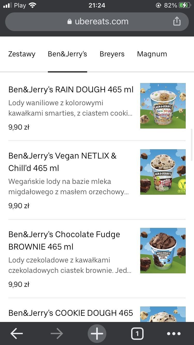LODY Ben & Jerry's z Ubereats (Szczecin)