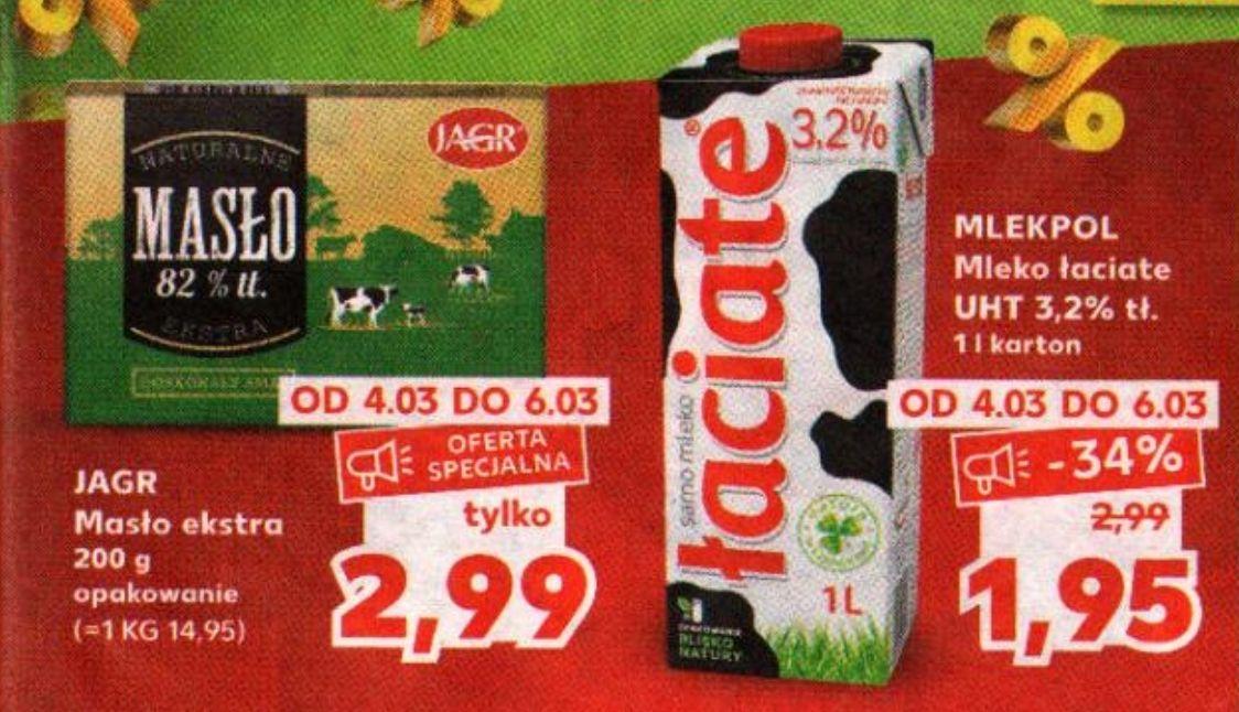 Mleko Łaciate 3,2% za 1,95zł i masło Jagr 82% za 2,99zł @ Kaufland
