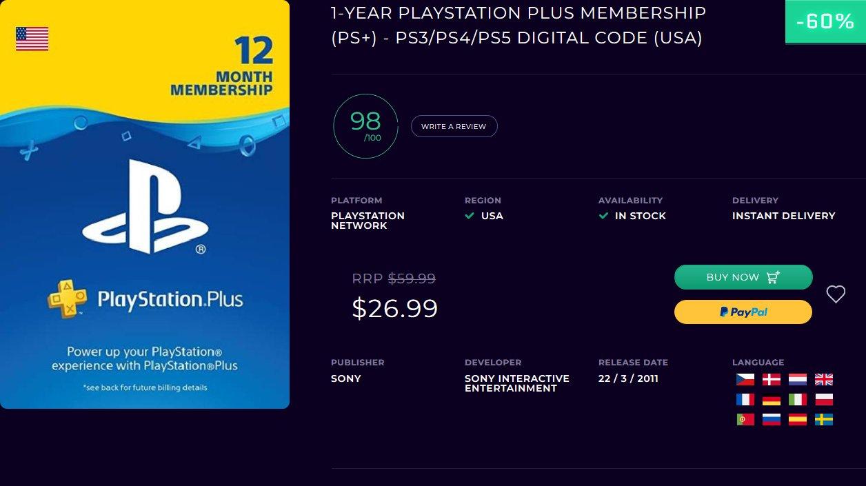 Kod Playstation Plus 1 rok na konto USA