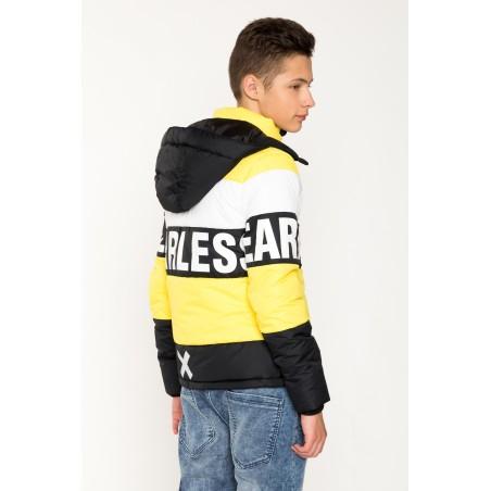 Trójkolorowa kurtka dla chłopaka z kapturem FEARLESS