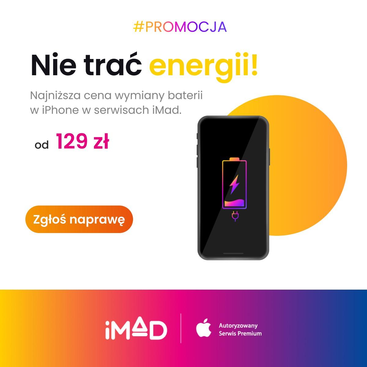 Wymiana baterii w iPhone w iMad za 129 i 229 zł