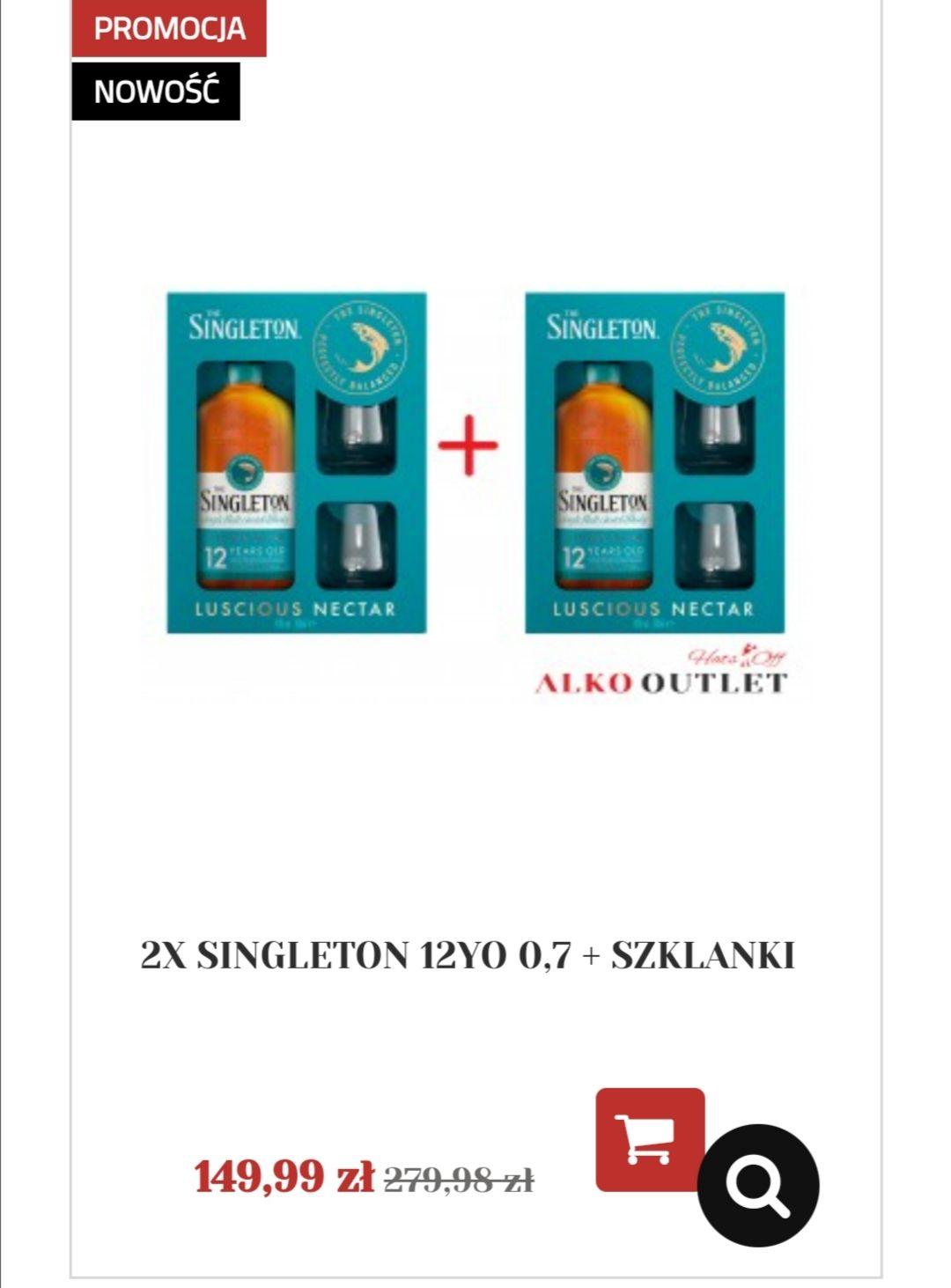 Whisky 2x Singleton 12yo 0.7 + szklanki ALKOUTLET