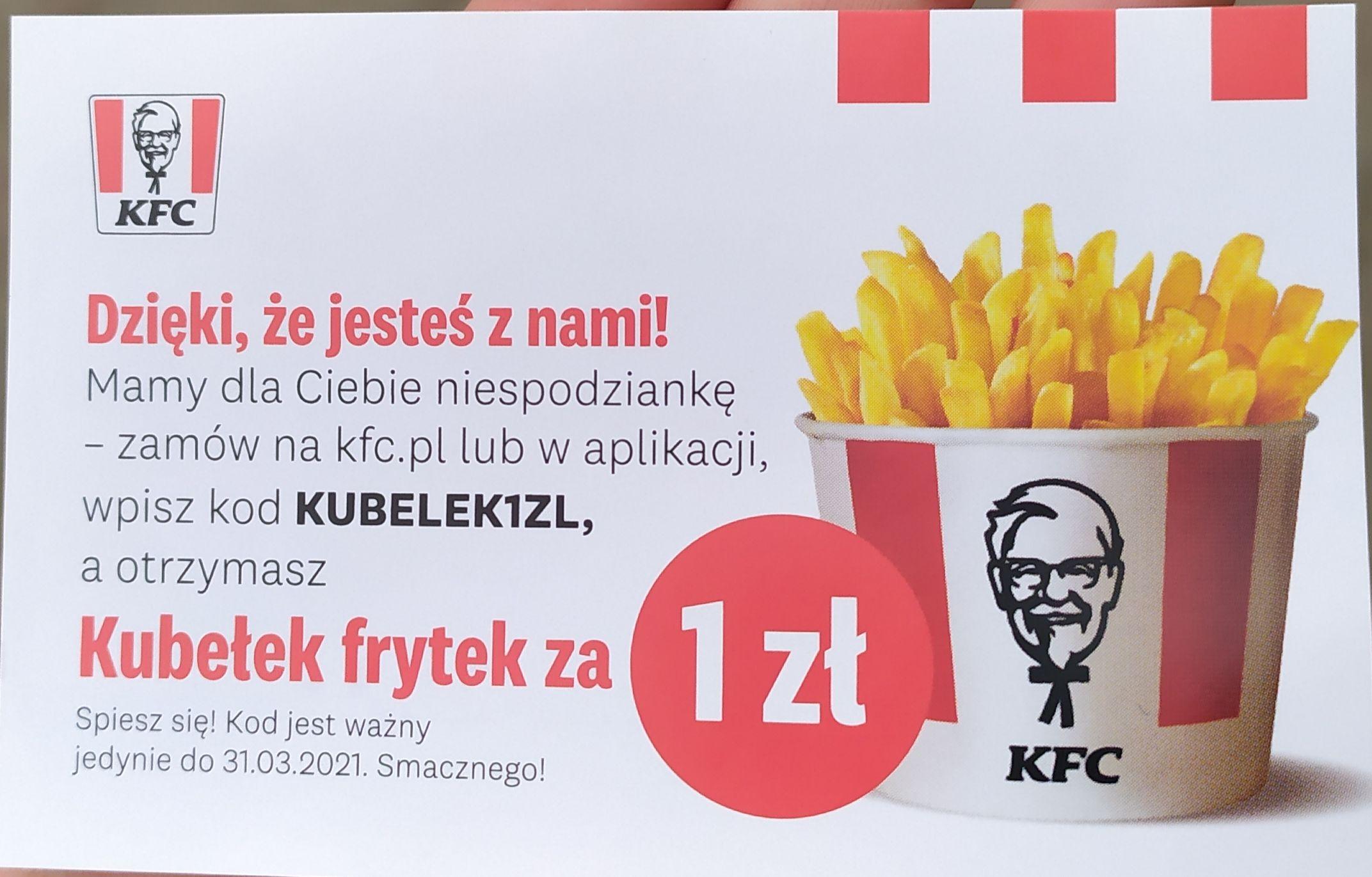 Kubełek frytek za 1zł w KFC