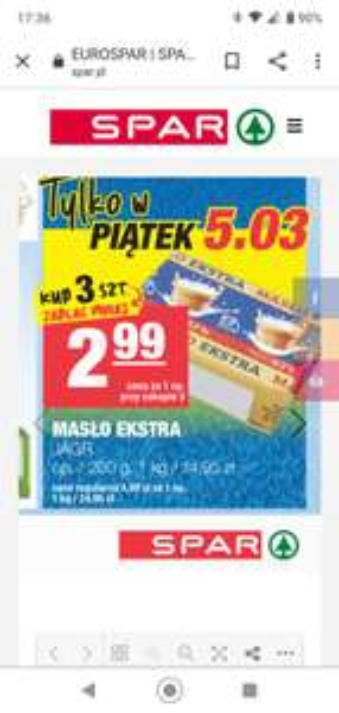 Masło Ekstra Jagr 200g 1kg=14,95 Przy zakupie 3szt. /Spar/