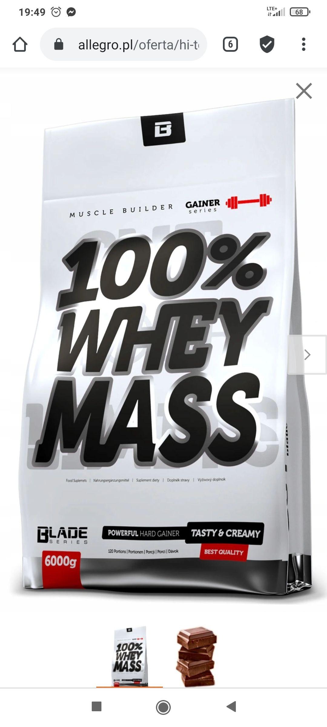 Gainer HiTec 100% Whey Mass 6000 g czekoladowy
