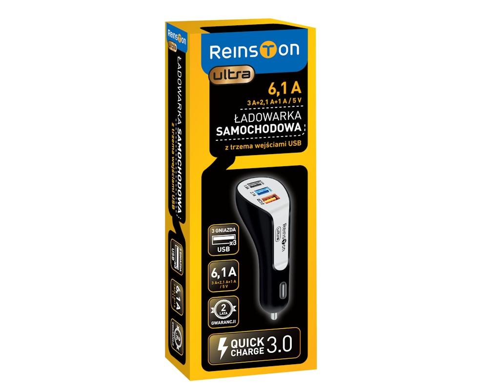 Ładowarka samochodowa Reinston ELSA10 Ultra 6,1A, 3 porty USB w tym QC 3.0, odb.os.0zł