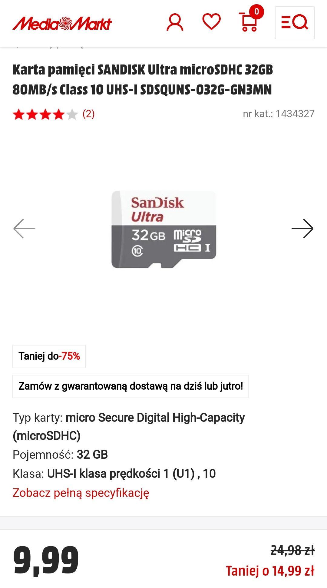 Karta pamięci SANDISK Ultra microSDHC 32GB