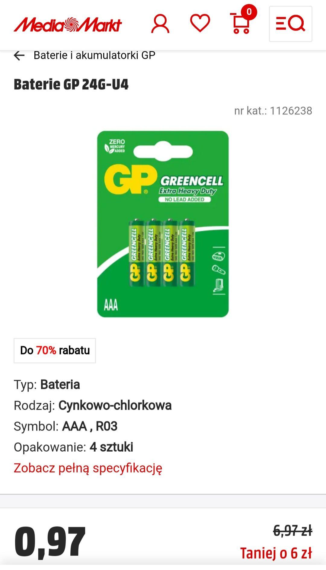 Baterie GP 4 sztuki (0,24gr./1baterie) i Duracell 2szt. (0,47gr./1baterie) - Media Markt