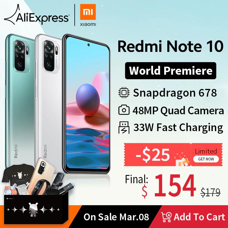 Redmi Note 10 za 154$ z kuponem na 25$.