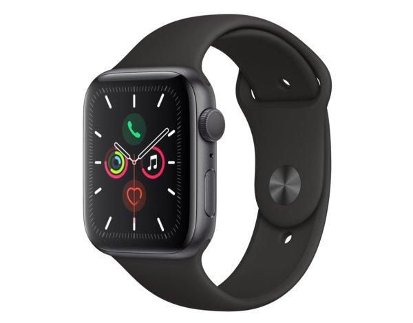 SmartWatch APPLE Watch Series 5 GPS+Cellular Koperta 44 mm z aluminium w kolorze gwiezdnej szarości z paskiem sportowym czarny