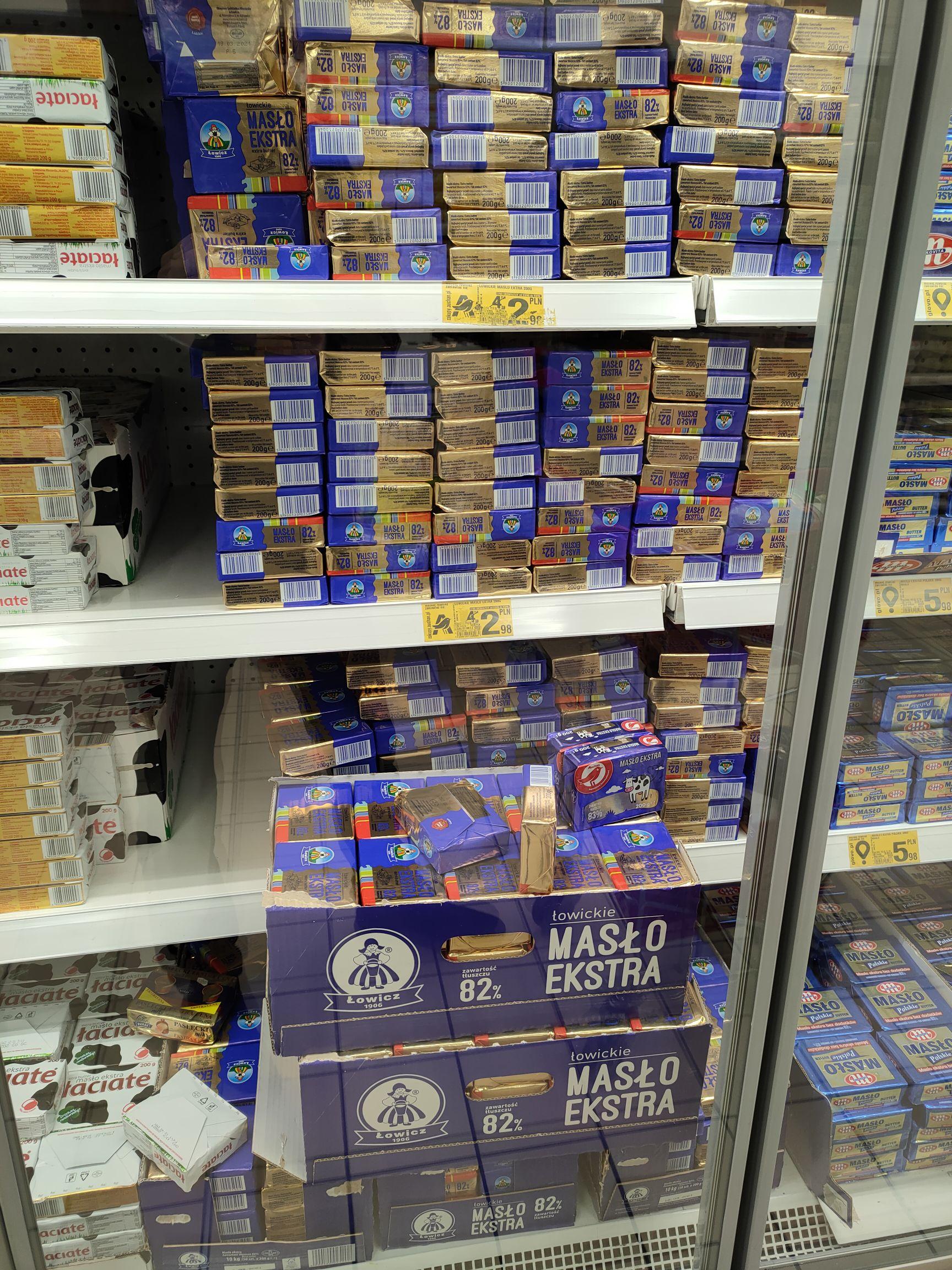 Łowickie masło ekstra za 2,98 w Auchan