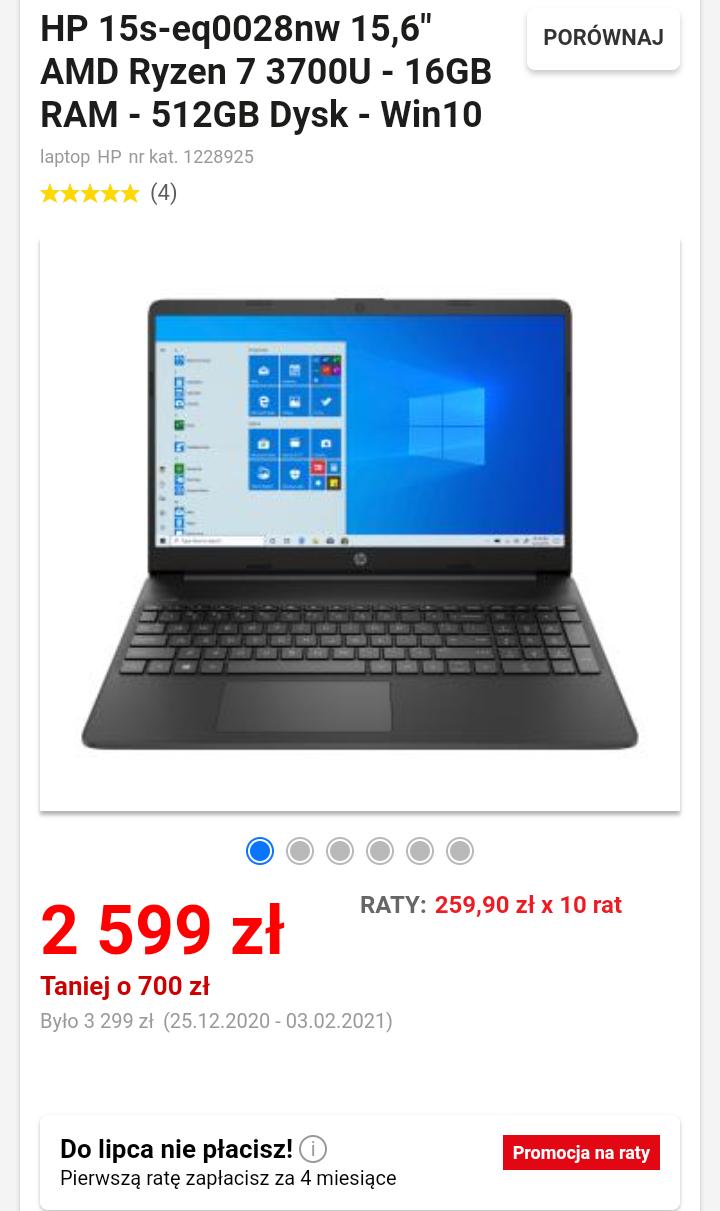 "HP 15s-eq0028nw 15,6"" AMD Ryzen 7 3700U - 16GB/512GB - Win10H"
