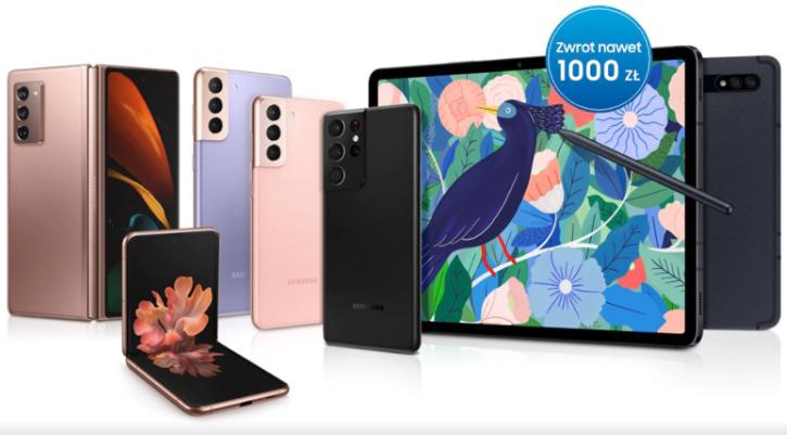 Samsung Cashback do 1000zł - seria Galaxy S21, Fold 2, Flip 5G, Galaxy Tab S7/S7+