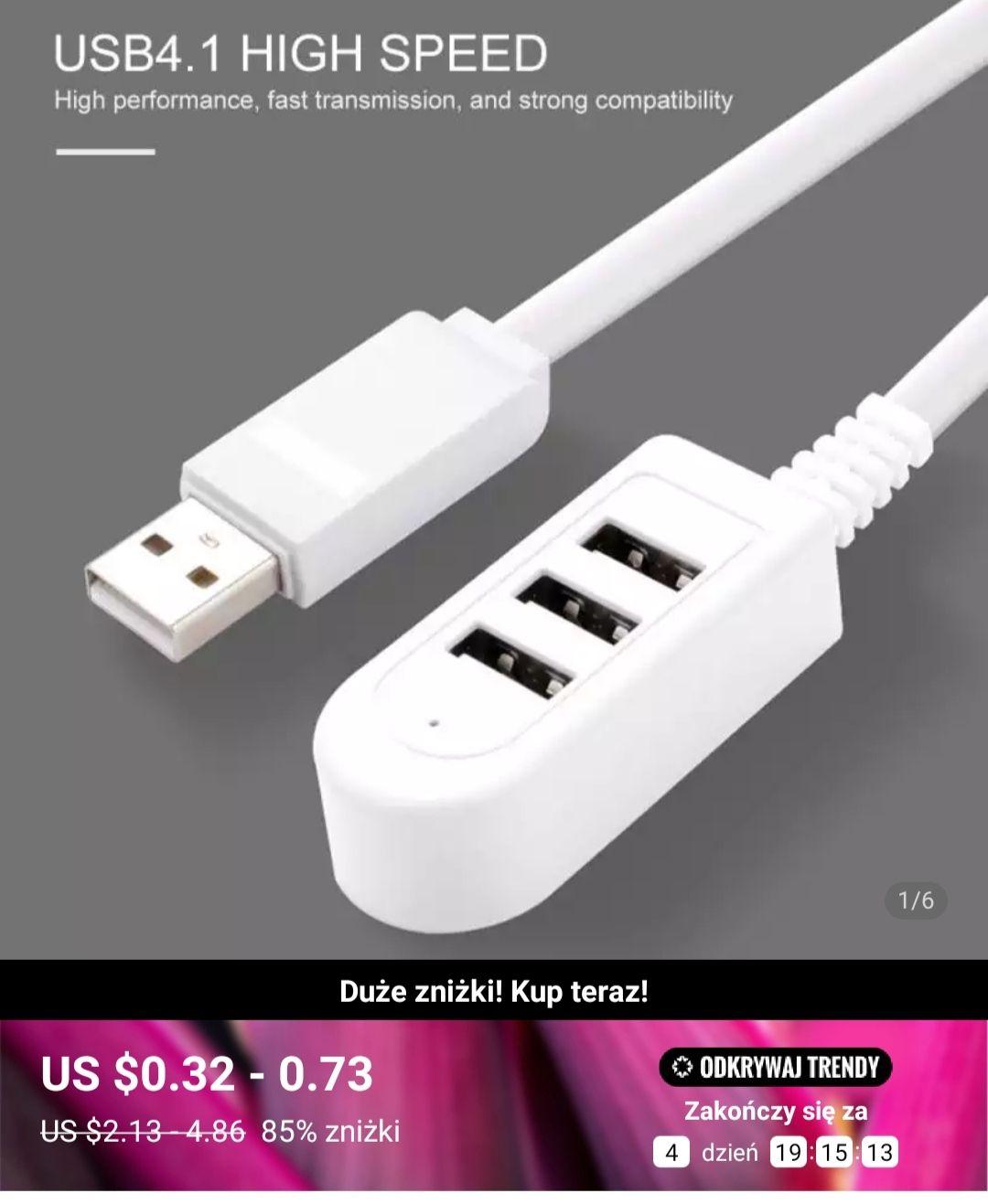 Hub USB 30cm/0,36$ lub 120cm/0,51$