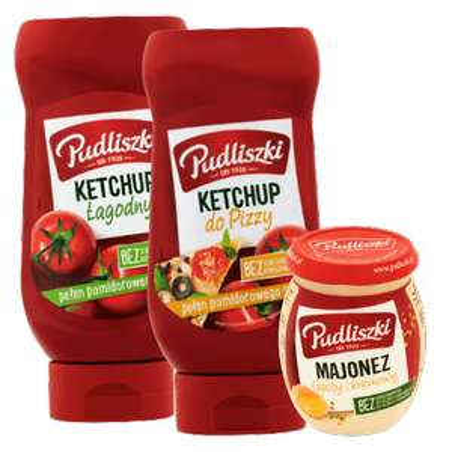 Kup 2x ketchup Pudliszki 470-480g , majonez 240 ml weź z półki za darmo!